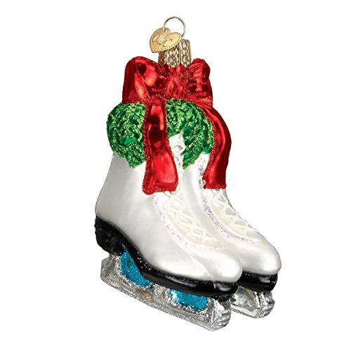 Holiday Ice Skates Glass Blown Hanging Christmas Ornament