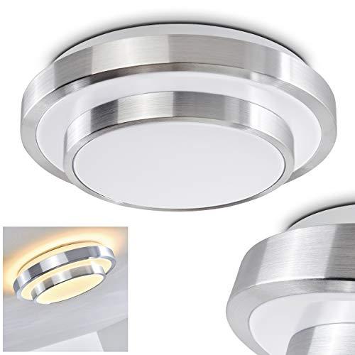 LED Deckenleuchte Sora, runde Deckenlampe aus Metall in Aluminium gebürstet, 2-stöckig, 12 Watt, Lichtfarbe 3000 Kelvin (warmweiß), IP 44, auch für das Badezimmer geeignet