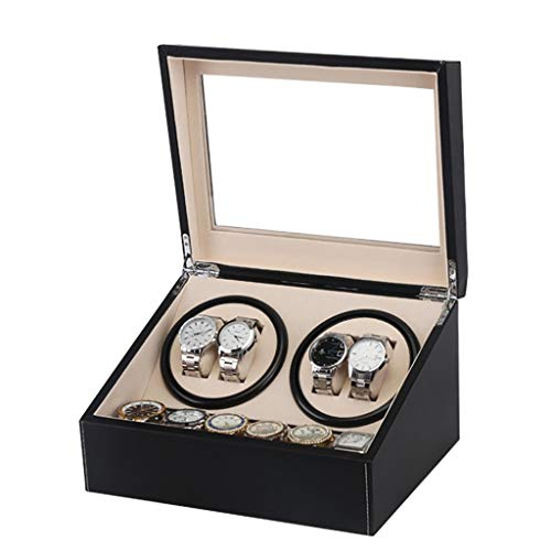 Kays Uhrenbeweger Uhrenbox Uhrenkasten Uhrendreher Automatik Uhrenbeweger Box Luxus Leder for 4 Armbanduhren + 6 Aufbewahrungskoffer, Uhrenbeweger 4 + 6 Leder Uhren Aufbewahrungskoffer Box