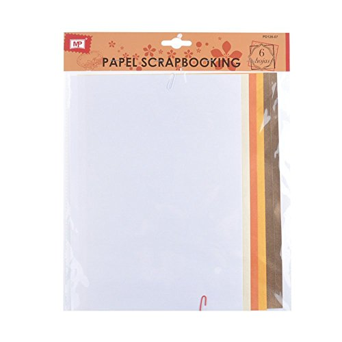 MP PD126-07 - Pack de 6 hojas papel con textura scrapbooking, 20 x 30