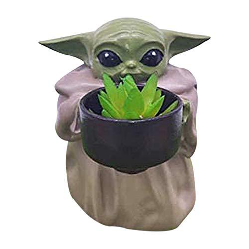 Marjory Macetero de resina con forma de yoda, ideal como regalo de cumpleaños, para el hogar, para decoración de escritorio, muy dulce, para plantas suculentas