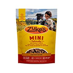 One (1) 16.0 oz Bag - Zuke's Mini Naturals Training Dog Treats Chicken Recipe Wholesome, tender mini bites for all your adventures in training Real chicken is the #1 ingredient Less than 3 calories per treat for guilt free rewarding Healthy dog treat...