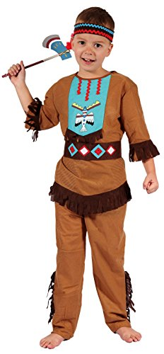 Disfraz de indio Magicoo niño niño con tocado - Disfraz de carnaval indio niño mediano, marron, (120/130 CM)
