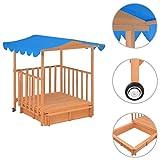 vidaXL Holz Sandkasten mit Dach Sandkiste Sandbox Kindersandkasten Kinder Spielhaus Kinderspielhaus Holzhaus Holzspielhaus Garten UV50 UV Schutz Sonnenschutz