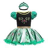 Lito Angels Disfraz de Princesa Anna para Bebé Niñas, Body Mamelucos Onesie Vestido de Fiesta Cumpleaños con Diadema Talla 9-12 Meses, Verde
