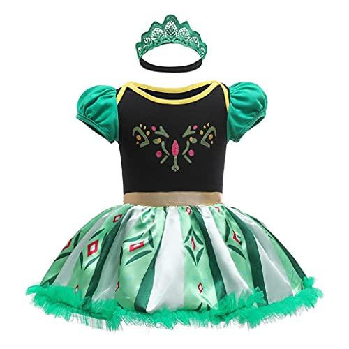 Lito Angels Disfraz de Princesa Anna para Bebé Niñas, Body Mamelucos Onesie Vestido de Fiesta Cumpleaños con Diadema Talla 12-18 Meses, Verde
