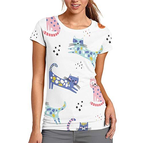 Camiseta con diseño de gatos divertidos para mujer con estampado de camiseta y camiseta para niños