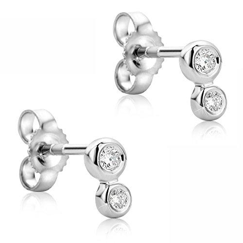 Orovi Damen Ohrringe Set Damen Weißgold mit Diamant 14 Karat (585) Brillianten 0.13crt Ohr Schmuck