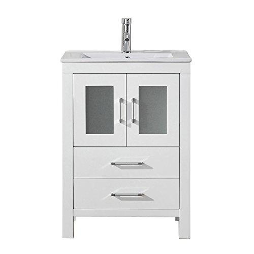 Virtu USA Dior 24 inch Single Sink Bathroom Vanity Set in White w/Integrated Square Sink, Slim White Ceramic Countertop, Single Hole Polished Chrome, 1 Mirror - KS-70024-C-WH