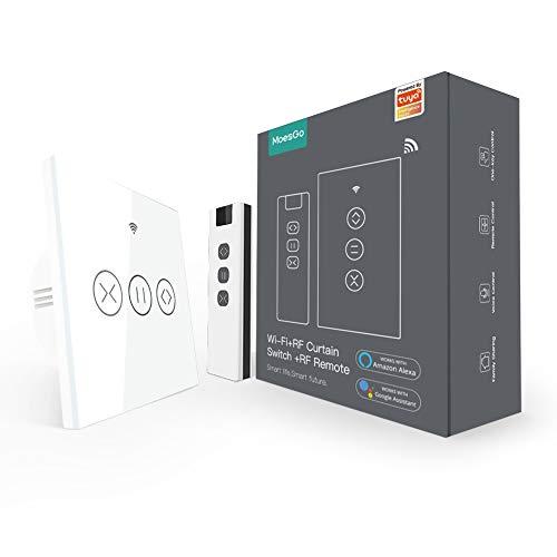 MoesGo WiFi RF433 Interruptor de Persianas, Funciona con cortinas, persianas enrollables y estores, Compatible con Smart Life/Tuya, Alexa y Google Home Blanco, Control Remoto RF433 Incluido