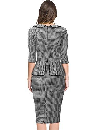 Miusol Damen 3/4 Arm Schoesschen?Cocktailkleid Hahnentrittmuster 1950er Jahre Business Stretch Kleid Grau Gr.L - 2