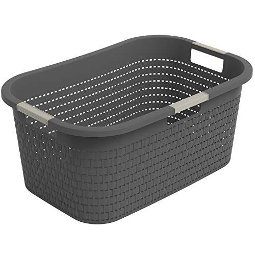 Rotho Country Cestino per il Bucato, Plastica (PP) senza BPA, Grigio (Antracite), 40 L, 58.0 x 38.9 x 25.1 cm