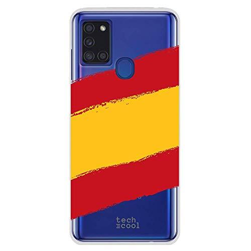 Funnytech® Funda Silicona para Samsung Galaxy A21s [Gel Silicona Flexible, Diseño Exclusivo] Bandera España Transparente