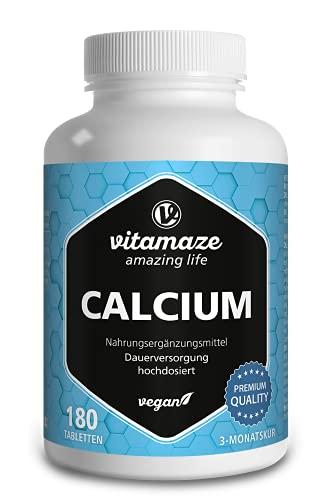 Calcio Pastillas Vegano de Alta Dosis, 180 Tabletas durante 3 Meses, 800 mg de Carbonato de Calcio por Dosis Diaria, Natural Complemento Alimenticio sin Aditivos