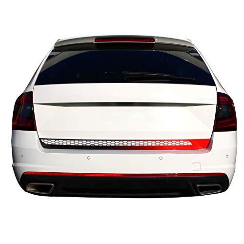 Heckklappen Blende Folie für Heck Aufkleber Dekor Auto (Farbverlauf Schwarz/Rot, D078 Mit Wabenstruktur)