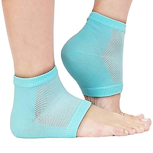Nau Mart Silicone Gel Heel Pads Socks Cotton moisturizing with Pain Relief Heels Cracked Removal Protector Feet Repair Cream Support Cushion for Men, Women And Elderly Person (Free size, Multi Color)