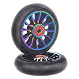 aibiku Pro Stunt Scooter Wheel 100mm Replacement Wheels with ABEC-11 Bearing-2 PCS(Colorful/Black)