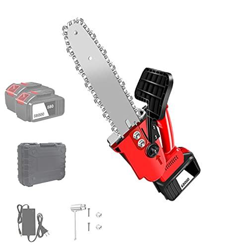 Xhlc Motosierra inalámbrica de 8 Pulgadas, Mini Motosierra de una Mano sin escobillas con batería y Cargador, batería Recargable, para podar árboles, Ramas, Patio, jardín
