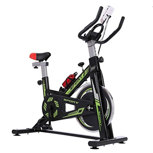 Indoor Folding Exercise Cycling Bike, Ultra-Quiet Stationary Fitness Upright Spinning Bicycle with Tablet Stand and Adjustable Comfortable Cushion Seat, Home Fitness Equipment (Black)