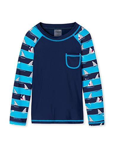 Schiesser Jungen Shark Fever Bade-Shirt Badeanzug, Blau (Admiral 801), 128