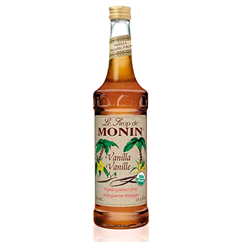 Monin - Organic Vanilla Syrup, Naturally Smooth Sweetness, Great for Coffee, Shakes and Cocktails, Gluten-Free, Vegan, Non-GMO (750 Milliliters)