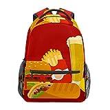 Divertida comida hamburguesa patatas fritas pollo rollo rojo escuela mochila de gran capacidad lona mochila Satchel casual viaje mochila para niños adultos adolescentes mujeres hombres