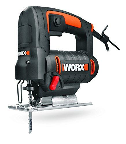 WORX WX477.1 Stichsäge 550W zum Schneiden von Holz, Stahl & Aluminium - ideal für Gehrungsschnitte – mit integrierter Staubabsaugung, werkzeuglosem Sägeblattwechsel & Koffer