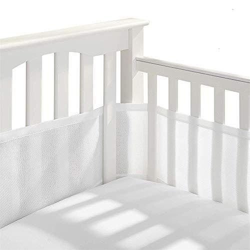 Protector De Cuna Para Bebé, Ventilaciones De Nido De Abeja, Lavable A Máquina, No Deformado (juego De Dos Piezas) (White,340/160 * 30cm)