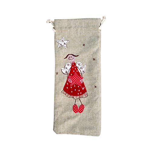 NAYUKY Santa Claus Angular botella de vino bolsa con cordón para Navidad, cubierta de lino, decoración de Navidad, bolsa de regalo