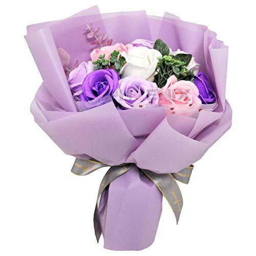 ソープフラワー ギフト 花束 ブーケ バラ 結婚祝い 誕生日 花 母の日 父の日 入学祝い 卒業祝い お返し 記念日 プレゼント 小さい 卒園 造花 キュート 送別会 シャボンフラワー 赤 ピンク 黄 青 紫 ソープフラワー,パープル