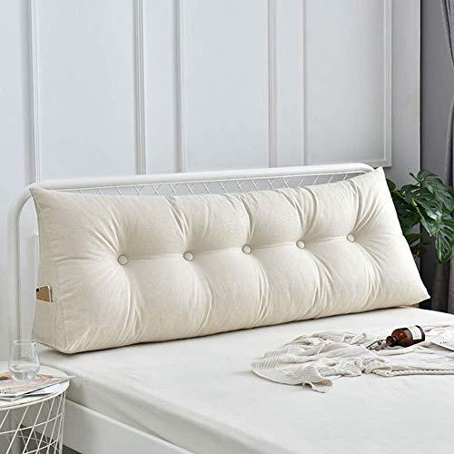 Daybed Cushion Leinen Dreieckiges Keilkissen Gepolstertes Kopfteil Bett Rückenlehne Lesekissen für Bettrückenstütze, mit abnehmbarem Bezug und praktischer Tasche, Beige, 80x23x50cm