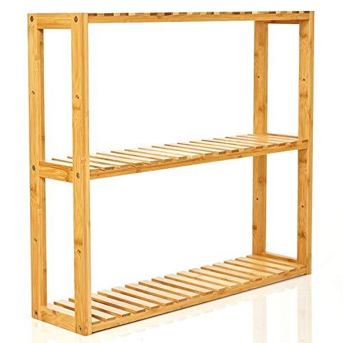 bambuswald© schmales Badregal aus 100% Bambus - 3 Etagen - Wandregal Regal Wandschrank Hängeschrank Hängeregal Küchenregal | Größe ca. 60(Länge) x 54 (Höhe) x 15(Tiefe)