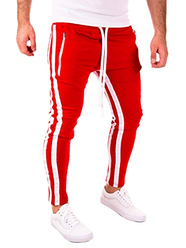 PITTMAN Herren Retro Jogginghose 2 Streifen Slim-Fit, Rot/Weiß (0201), L