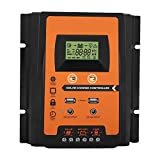 Controlador MPPT - 12V/24V 30A50A Controlador de carga solar MPPT Regulador de batería del panel solar Pantalla LCD USB dual(50A)