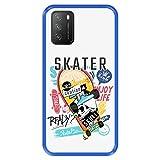 Hapdey silikon Hülle für [ Xiaomi Poco M3 ] Design [ Skater König, genieße das Leben ] Blau Flexibles TPU