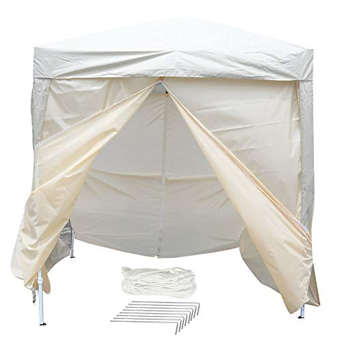 Outdoor Party Tent, Waterproof Folding Awning Tent Event Shelter Gazebo with 4 Sidewalls Practical Folding Gazebo 2 * 2m Beige