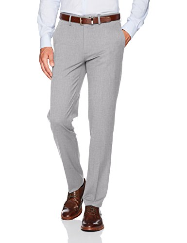 Haggar Men's J.M. Stretch Superflex Waist Slim Fit Flat Front Dress Pant, Light Grey, 34Wx34L