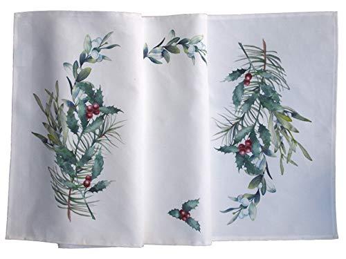 Tischläufer mit Weihnachtsmotiv | weihnachtliche Mitteldecke/Tischdecke aus Baumwolle und Leinen (Ilexzweig, Mistelzweig rote Beeren)