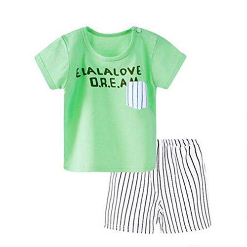 Kid BoysImpresión de dibujos animados 2PCS Niños pequeños Bebés, niñas, trajes, camisetas, tops, pantalones cortos, conjunto de ropa, F