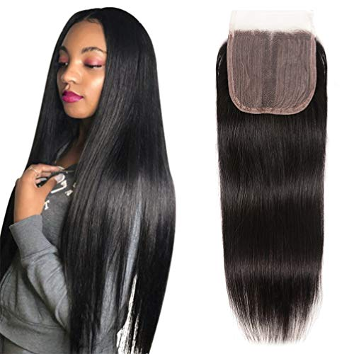 12A Brazilian Straight Middle Part Lace Closure 4X4 Machine Made Closure Unprocessed Human Hair Natural Black Brazilian Virgin Human Hair(8Inch Middle Part)