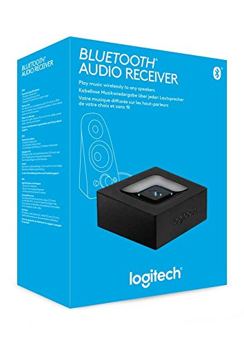 Logitech Wireless Bluetooth Audio Receiver, Bluetooth Adapter for PC/Mac/Smartphone/Tablet/AV Receiver, 3.5mm Audio and RCA Outputs to Speakers, One-Push Pairing Button, UK Plug - Black/Blue