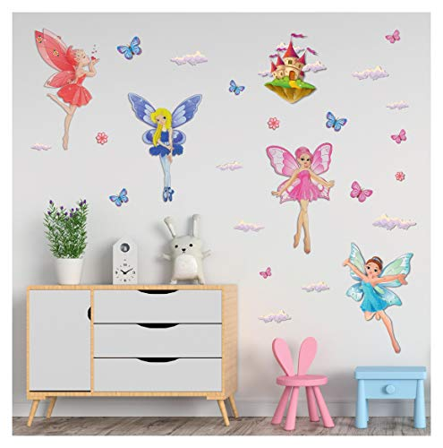 Sparkly 3D Fairies Princess Wall Decals Stickers - Set of 5 Spectacular Glittery Fairies, with Butterflies and Clouds for Girls Bedroom Decor - Easy to Stick