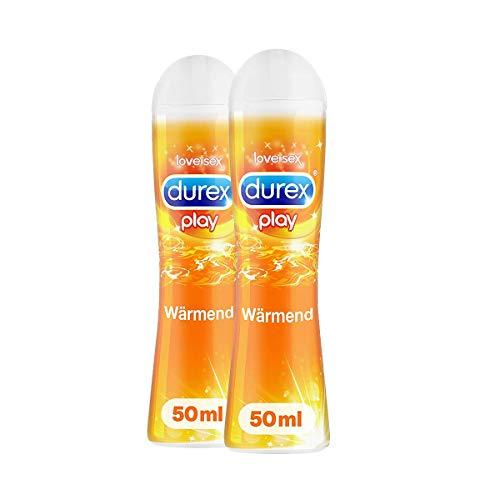 Durex Play Wärmend Gleitgel auf Wasserbasis - Sanftes Gleitmittel mit wärmendem Effekt in der praktischen Dosierflasche, (2 x 50 ml), 100 ml