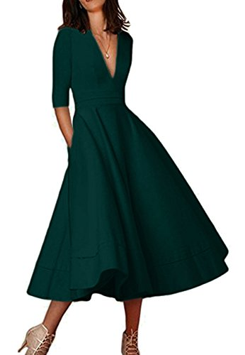 OMZIN Damen Cocktailkleid Elegantes Vintage Kleid V Ausschnitt 50er Retro Partykleid Grün S