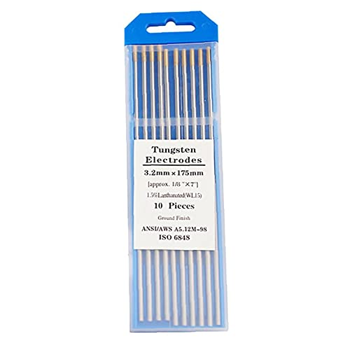10 x electrodos de tungsteno WL-15 electrodos de tungsteno 2,4Ø x 175 mm Agujas de tungsteno para soldadura TIG (ORO)