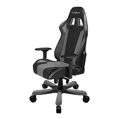 DXRacer King series OH/KS06/NG Large size Seat Office Chair Gaming Ergonomic with - Included Head and Lumbar Support Pillows (Black/Gray) chair gaming gray