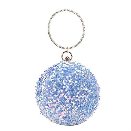 QIANJINGCQ moda todo-fósforo lentejuelas personalidad pequeña bolsa redonda anillo de metal bolso de cadena bolso de hombro señora mochila bolso de mensajero
