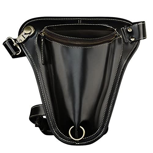 LXLTL Cintura Bolsa de Cuero Gota Pierna Bolsa para Hombres Mujeres Bolso Multifuncional Impermeable Moto Bicicleta Jinete Ciclismo Senderismo Deportes Camping Montar Bolsa para piernas,Negro