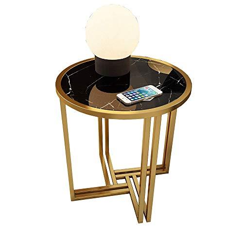 Carl Artbay Home & Selected furniture/marmer sofa bijzettafel ronde gouden salontafel slaapkamer nachtkastje 50 * 53cm (kleur: wit)