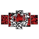 Set De Dibujo Y Pintura Pinturas De Pared Arte Pared Pintura Lienzo Impresiones HD Decoración Dhogar 5 Piezas Hoja Arce Obra Arte Cartcreativo Cuadros Dormitorios Abstracto